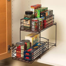 Load image into Gallery viewer, Cheap seville classics 2 tier sliding basket drawer kitchen counter and cabinet organizer bronze