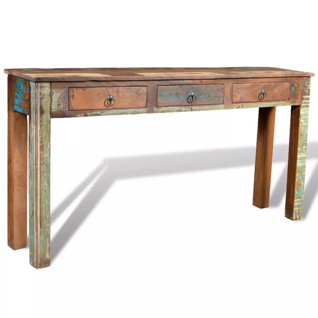 Best festnight rustic console table with 3 storage drawers reclaimed wood sideboard handmade entryway living room home furniture 60 x 12 x 30 l x w x h