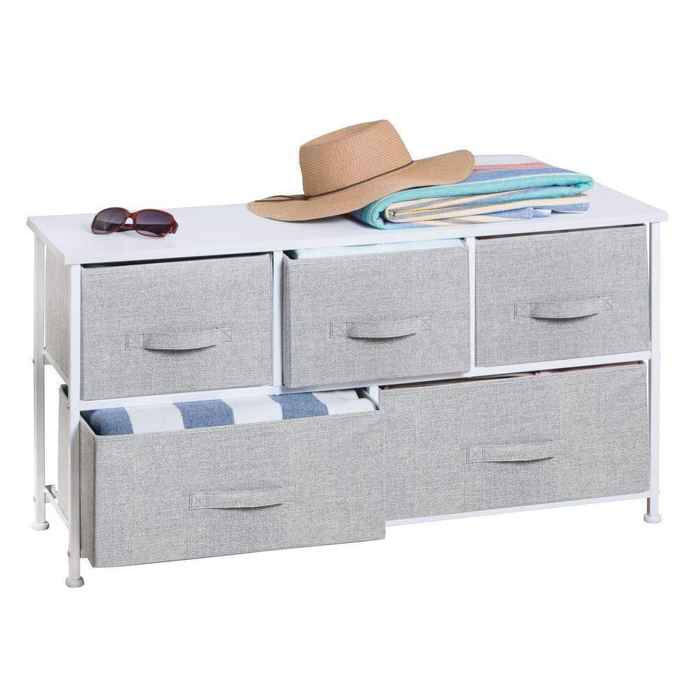 Budget mdesign extra wide dresser storage tower sturdy steel frame wood top easy pull fabric bins organizer unit for bedroom hallway entryway closets textured print 5 drawers gray white