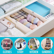 Load image into Gallery viewer, Best ec vision expandable dresser drawer divider 2 pack dresser drawer dividers good grips kitchen drawer organizers for bedroom bathroom closet baby drawer desk kitchen storagelarge14 7 21