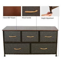 Load image into Gallery viewer, Save home dresser storage tower sturdy steel frame mdf wood top removable drawers height adjustable feet storage organizer for room hallway entryway closets 5 drawers espresso 39 5w 21 5h