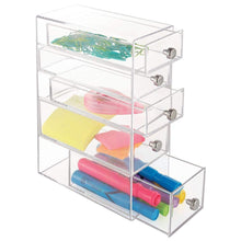 Load image into Gallery viewer, Budget friendly idesign clarity plastic cosmetic 5 drawer jewelry countertop organization for vanity bathroom bedroom desk office 3 5 x 7 x 10 clear