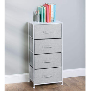 Budget friendly mdesign vertical furniture storage tower sturdy steel frame wood top easy pull fabric bins organizer unit for bedroom hallway entryway closets textured print 4 drawers gray white
