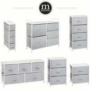 Best mdesign vertical furniture storage tower sturdy steel frame wood top easy pull fabric bins organizer unit for bedroom hallway entryway closets textured print 4 drawers gray white