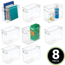 Load image into Gallery viewer, Shop for mdesign plastic home office storage organizer bin with handles container for cabinets drawers desks workspace bpa free for pens pencils highlighters notebooks 5 wide 8 pack clear