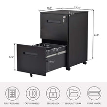 Load image into Gallery viewer, Shop here file cabinet mobile 2 drawer metal pedestal filing cabinets with lock key 5 rolling casters fully assembled home office modern vertical hanging folders a4 letter legal size