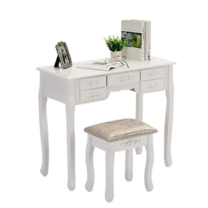 New honbay trifold mirrors makeup vanity table set cushioned stool and surprise gift makeup organizer with 7 drawers dressing table white