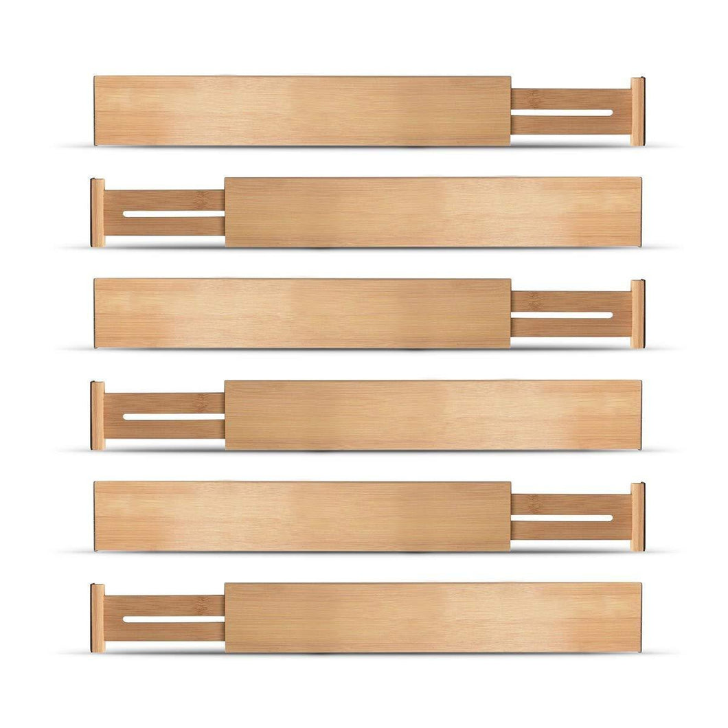 Buy now bamboo kitchen drawer dividers organizers set of 6 spring loaded adjustable drawer separators for home and office organization