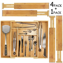 Load image into Gallery viewer, Purchase mebbay 5 set bamboo drawer dividers kitchen drawer organizer adjustable drawer divider organizer bamboo wood utensil drawer organizer for kitchen dresser bedroom bathroom with non slip pads