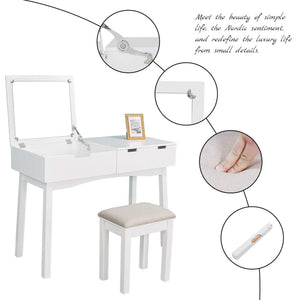 Results vanity beauty station dresing table vanity set with flip top mirror 1 large organization 2 drawers makeup dresser writing desk white flip mirror