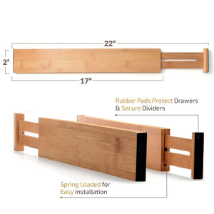 Discover the best bamboo kitchen drawer dividers organizers set of 6 spring loaded adjustable drawer separators for home and office organization