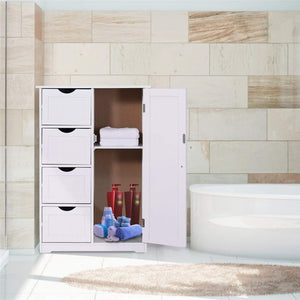 Shop here bathroom floor cabinet crazylynx free standing wooden storage cabinet organizer with 4 drawers and one cupboard 22 x 32 7 for home garden office off white