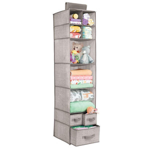 Discover the best mdesign soft fabric over closet rod hanging storage organizer with 7 shelves and 3 removable drawers for child kids room or nursery textured print 2 pack linen tan