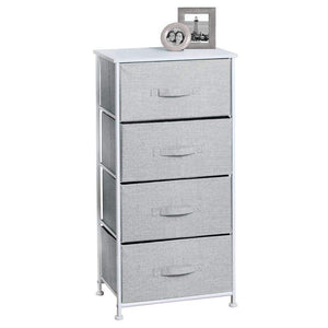 Try mdesign vertical furniture storage tower sturdy steel frame wood top easy pull fabric bins organizer unit for bedroom hallway entryway closets textured print 4 drawers gray white