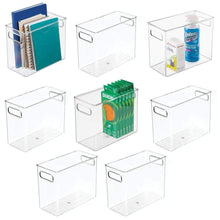Load image into Gallery viewer, Save mdesign plastic home office storage organizer bin with handles container for cabinets drawers desks workspace bpa free for pens pencils highlighters notebooks 5 wide 8 pack clear