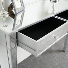 Load image into Gallery viewer, Purchase ssline mirrored writing desk vanity dressing table desk for women with 2 drawers silver glass finish makeup table media console table
