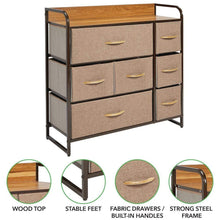 Load image into Gallery viewer, Storage mdesign wide dresser storage chest sturdy steel frame wood top easy pull fabric bins organizer unit for bedroom hallway entryway closet textured print 7 drawers coffee espresso brown