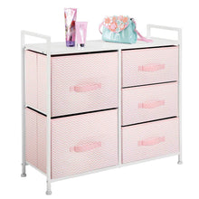 Load image into Gallery viewer, Amazon mdesign wide dresser storage tower furniture metal frame wood top easy pull fabric bins organizer for kids bedroom hallway entryway closets dorm chevron print 5 drawers pink white