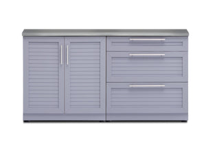 Outdoor Kitchen Aluminum 2 Piece Cabinet Set