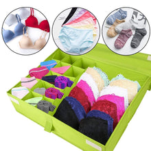 Load image into Gallery viewer, The best begost storage bins foldable underwear organizer storage box washable multi functional drawer dividers 2 in 1 closet divider storage box with cover for underwear socks ties bra and bins green