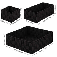 Load image into Gallery viewer, Buy now kedsum woven storage box cube basket bin container tote cube organizer divider for drawer closet shelf dresser set of 4 black