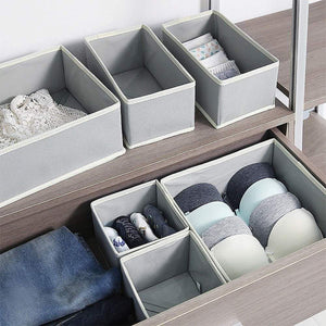 On amazon diommell foldable cloth storage box closet dresser drawer organizer fabric baskets bins containers divider with drawers for baby clothes underwear bras socks lingerie clothing set of 12 grey 444