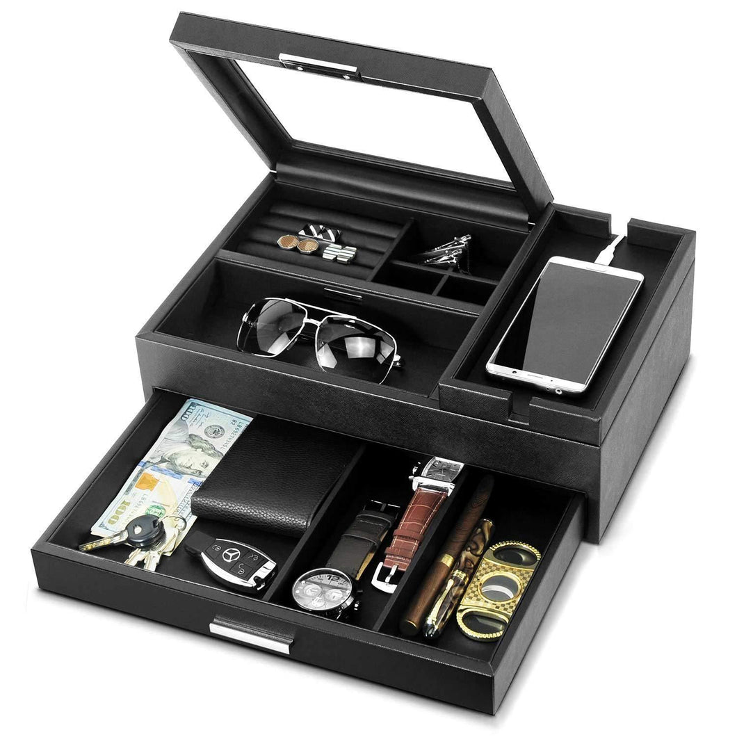 Related lifomenz co mens jewelry box valet tray with drawer and charging station organizer nightstand organizer for men jewelry tray catchall tray for men accessories organizer