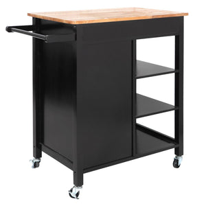 Featured zenstyle 4 tier rolling kitchen island utility wood trolley serving cart kitchen storage cart w towel rack rubberwood butcher block countertop cabinet drawer shelves