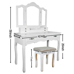 Shop vanity beauty station tri folding necklace hooked mirrors 6 organization 7 drawers makeup dress table with cushioned stool and storage ottoman white
