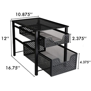Select nice stackable 2 tier organizer baskets with mesh sliding drawers ideal cabinet countertop pantry under the sink and desktop organizer for bathroom kitchen office