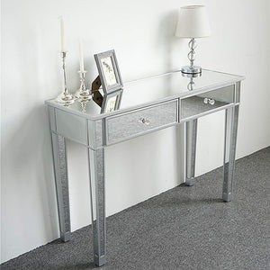 Related ssline mirrored writing desk vanity dressing table desk for women with 2 drawers silver glass finish makeup table media console table