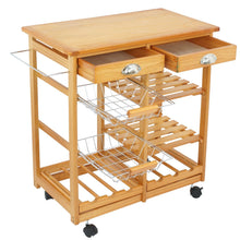 Load image into Gallery viewer, Shop for nova microdermabrasion rolling wood kitchen island storage trolley utility cart rack w storage drawers baskets dining stand w wheels countertop wood