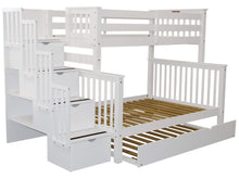 Load image into Gallery viewer, Cheap bedz king stairway bunk beds twin over full with 4 drawers in the steps and a twin trundle white