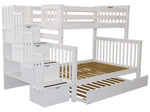 Cheap bedz king stairway bunk beds twin over full with 4 drawers in the steps and a twin trundle white