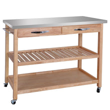 Load image into Gallery viewer, Explore zenstyle 3 tier rolling kitchen island utility wood serving cart stainless steel countertop kitchen storage cart w shelves drawers towel rack