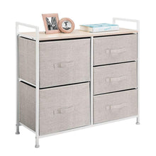 Load image into Gallery viewer, Amazon best mdesign wide dresser storage tower sturdy steel frame wood top easy pull fabric bins organizer unit for bedroom hallway entryway closets textured print 5 drawers linen tan