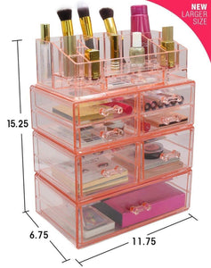 Save sorbus acrylic cosmetics makeup and jewelry storage case display sets interlocking drawers to create your own specially designed makeup counter stackable and interchangeable pink 1