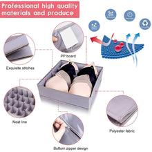 Load image into Gallery viewer, Save on drawer organizer dresser drawer organizer divider washable large bra sock underwear tie cloth organizer foldable closet storage box drawer polyester fabric for baby cloth panties belts set of 4 gray