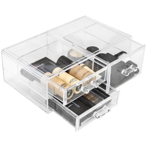 Organize with sorbus acrylic cosmetics makeup and jewelry storage case display sets interlocking drawers to create your own specially designed makeup counter stackable and interchangeable