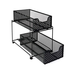Load image into Gallery viewer, Kitchen 2 tier organizer baskets with mesh sliding drawers ideal cabinet countertop pantry under the sink and desktop organizer for bathroom kitchen office