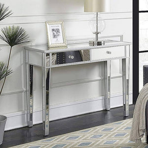 Organize with ssline mirrored writing desk vanity dressing table desk for women with 2 drawers silver glass finish makeup table media console table
