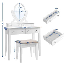 Load image into Gallery viewer, Discover the best songmics vanity table set with mirror and 4 drawers wooden makeup dressing table with large stool gift for women girls white urdt22wt