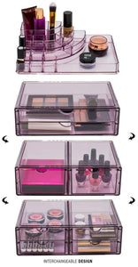New sorbus acrylic cosmetics makeup and jewelry storage case x large display sets interlocking scoop drawers to create your own specially designed makeup counter stackable and interchangeable purple 1