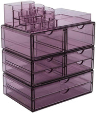 Load image into Gallery viewer, Home sorbus acrylic cosmetics makeup and jewelry storage case x large display sets interlocking scoop drawers to create your own specially designed makeup counter stackable and interchangeable purple 1