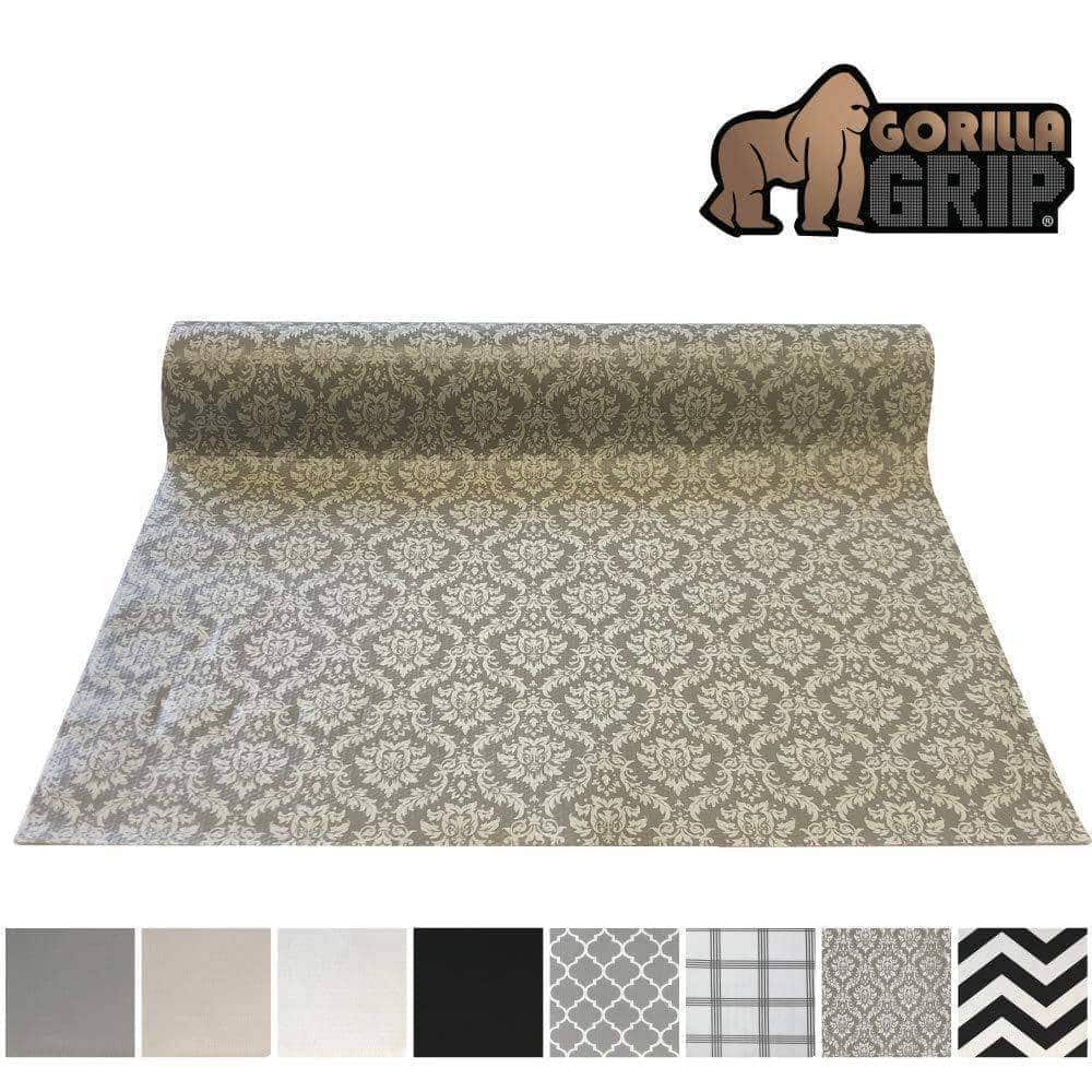 Shop here gorilla grip original smooth top slip resistant drawer and shelf liner non adhesive roll 17 5 inch x 20 ft durable kitchen cabinet shelves liners for kitchens drawers and desks damask beige