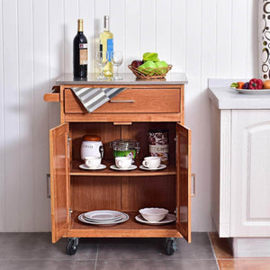 Budget friendly giantex wood kitchen trolley cart rolling kitchen island cart with stainless steel top storage cabinet drawer and towel rack