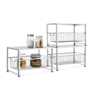 Latest bextsware cabinet basket organizer with wire grid sliding drawer multi function stackable mesh storage organizer for kitchen counter desktop under sinksilver