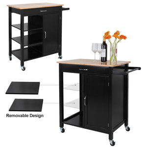 Get zenstyle 4 tier rolling kitchen island utility wood trolley serving cart kitchen storage cart w towel rack rubberwood butcher block countertop cabinet drawer shelves