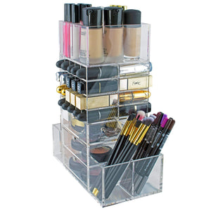 Save on spinning makeup organizer rotating tower acrylic all in one lipstick lip gloss makeup brush holder drawers pockets for eyeshadows compacts blushes powders perfume