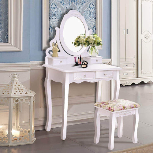 Amazon casart vanity dressing table with mirror and stool 360 rotating oval makeup mirror classic style delicate carved cushioned benches wood legs vanity tables with divided drawers white